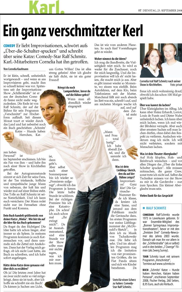 Interview with Ralf Schmitz by Cornelia Kaufmann, as it was published in the Solinger Tageblatt on September 23, 2008.