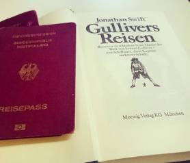 G for Gulliver's Travels by Jonathan Swift. Today's entry in the April #AtoZChallenge. Only had my German copy for the photo-op. Check out my book reviews on Literati-girl.com ©theliteratigirl