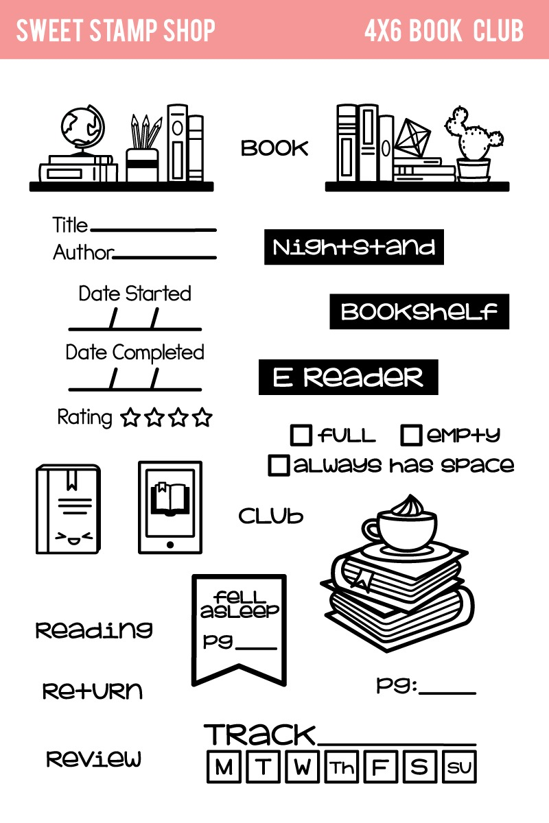 bookish things book club stamps by sweet stamp shop literati girl