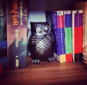 Harry Potter shelfie with my collection of English and German Harry Potter books and a few owls. #shelfie #HarryPotter #bookstagram ©studyreadwrite