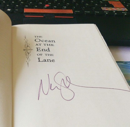 Ordered a copy of Neil Gaiman's The Ocean at the End of the Lane! Not only did I get the whimsical version with rough edges, I opened it up and found it was SIGNED by @nailhimself! #bookstagram #NeilGaiman #signedbook ©studyreadwrite