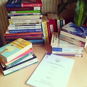 My Master Thesis surrounded by the physical books I studied for it. #backtothelibrary #masterthesis #litreview ©theliteratigirl
