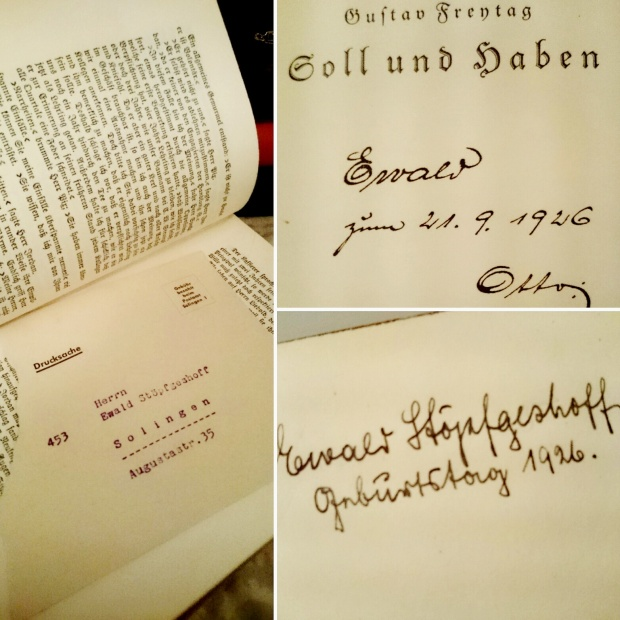 You guys... That's my address!!! After 90 years this book has found its way home!!! It's Soll und Haben by Gustav Freytag. I found it in grandma's attic and because it's all still in Old German Typeface I decided to keep it safe. Flipped through it and found the envelope and birthday wishes to Mr Ewald Stöpfgeshoff from his brother Otto, 21 September 1926. #oldbooks #familytreasure #coincidence #Bookstagram #pieceofhistory ©theliteratigirl