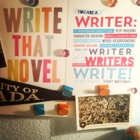 A writer's motivation. Right in the middle of NaNoWriMo. These two prints are by thedreamygiraffe on Etsy and I've just hung them up behind my desk so I look straight at them! No more excuses! #writersofinstagram #writerproblems #writingmotivation #nanowrimo #novelistatwork ©theliteratigirl