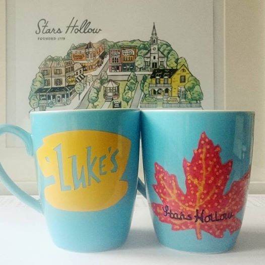 My Stars Hollow DIY mugs. They both have both designs on the, just the other way round. ©theliteratigirl