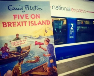 Enid Blyton for Grown-ups: Five on Brexit Island. With National Express rolling stock on the railway tracks of Germany. ©theliteratigirl